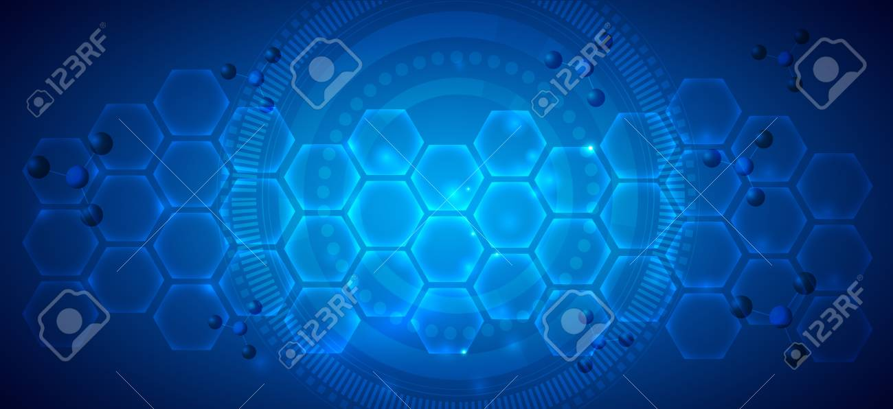 Abstract blue scientific background with transparent cells - 125872568