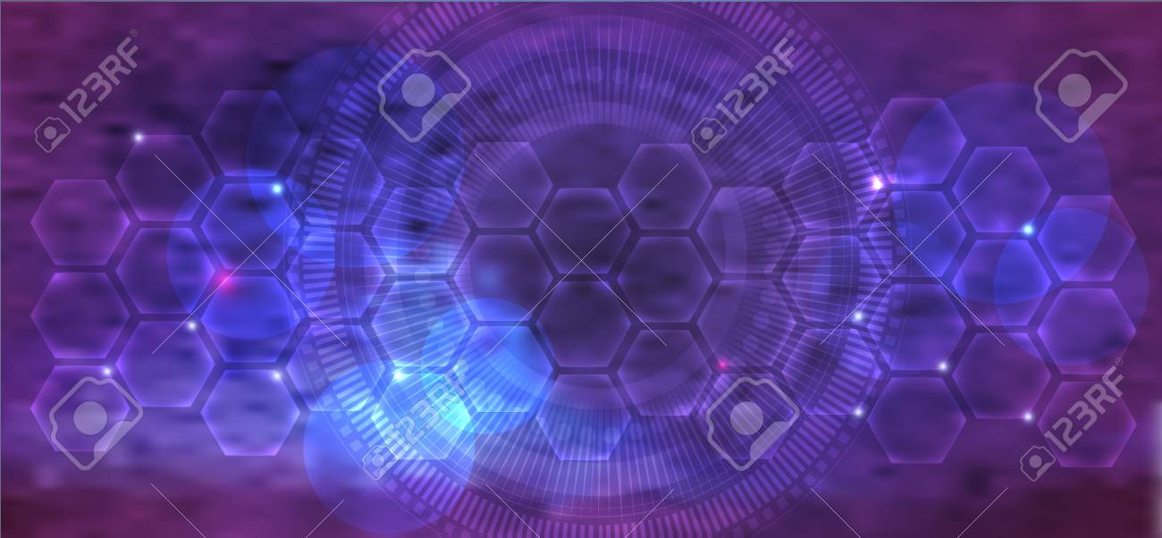 Beautiful abstract purple mesh color scientific background with transparent cells and glow - 125447002