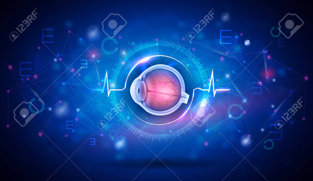Vision and eye health care, vision test, research and eye disorder treatment abstract blue background - 147987977