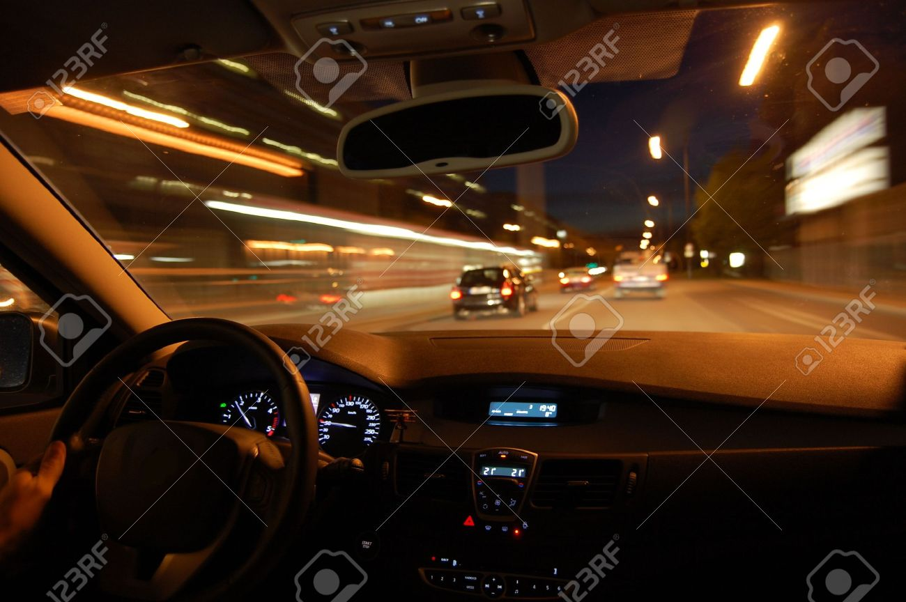 night drive with car in motion through the city shows the speed Stock Photo - 3698598