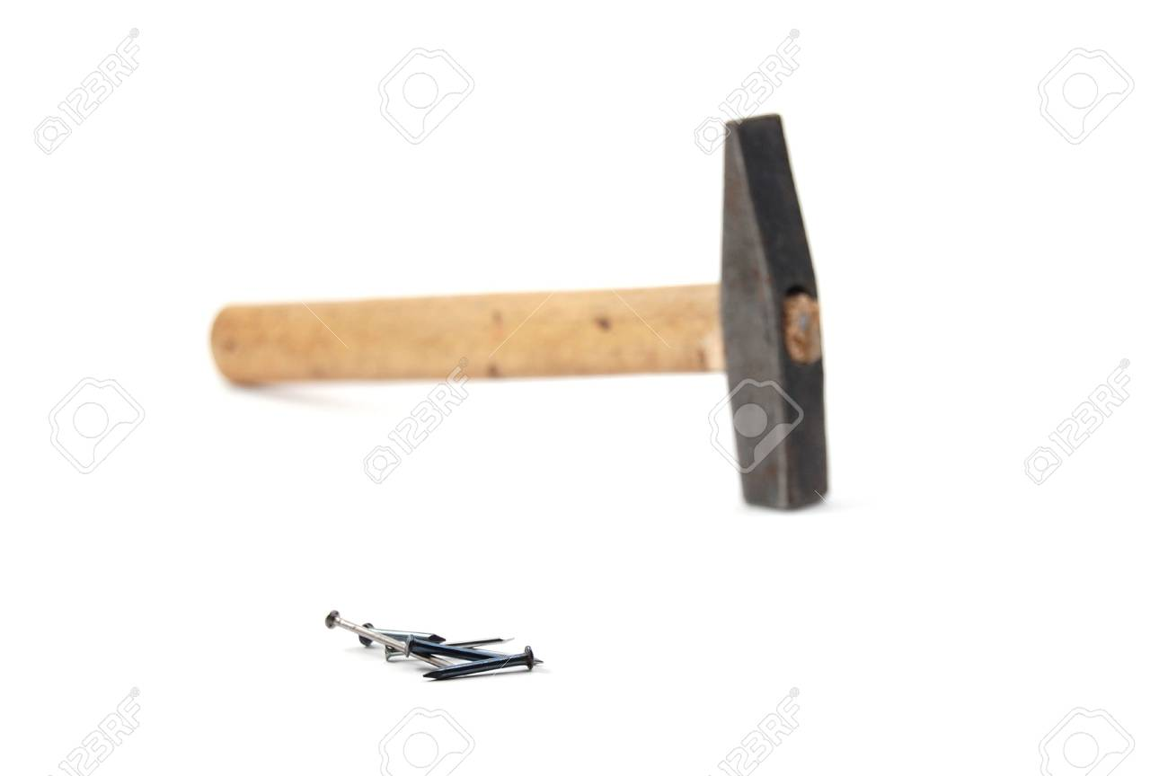 hammer and nails isolated on white background Stock Photo - 3807715