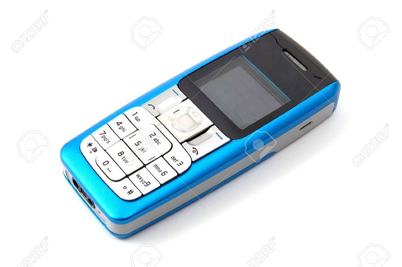 blue cell phone isolated on white background Stock Photo - 4086509