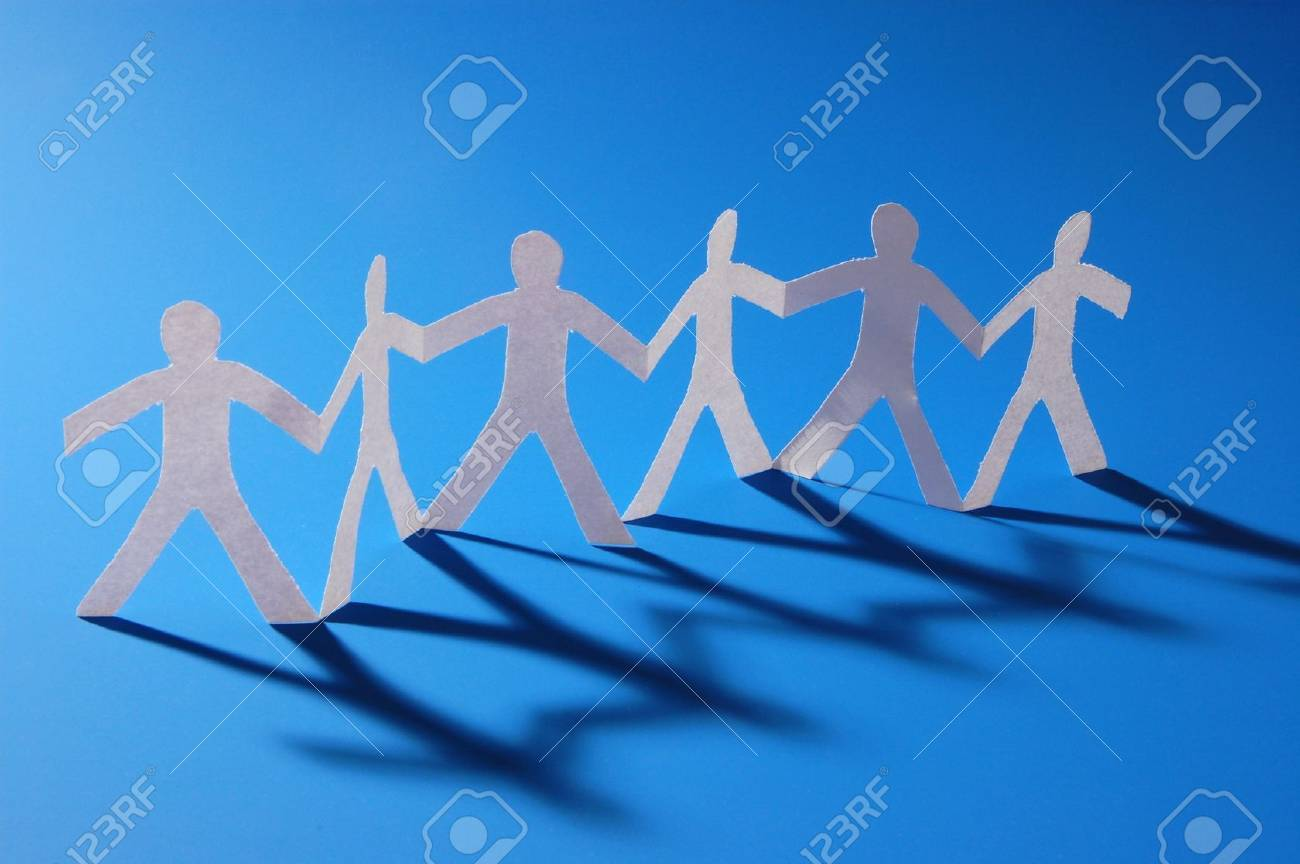 team of paper people having a party Stock Photo - 4146934