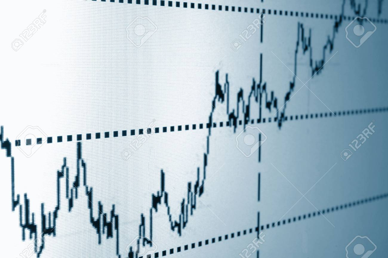 financial graph or stock chart on screen of a display Stock Photo - 4655955