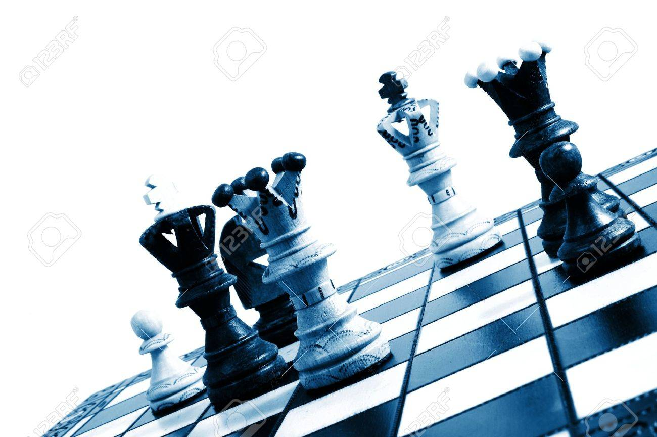 chess pieces on a chess board showing concept for strategic