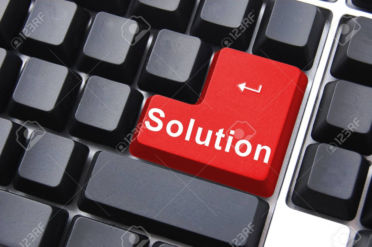 solution written on a computer keyboard enter button Stock Photo - 5115612