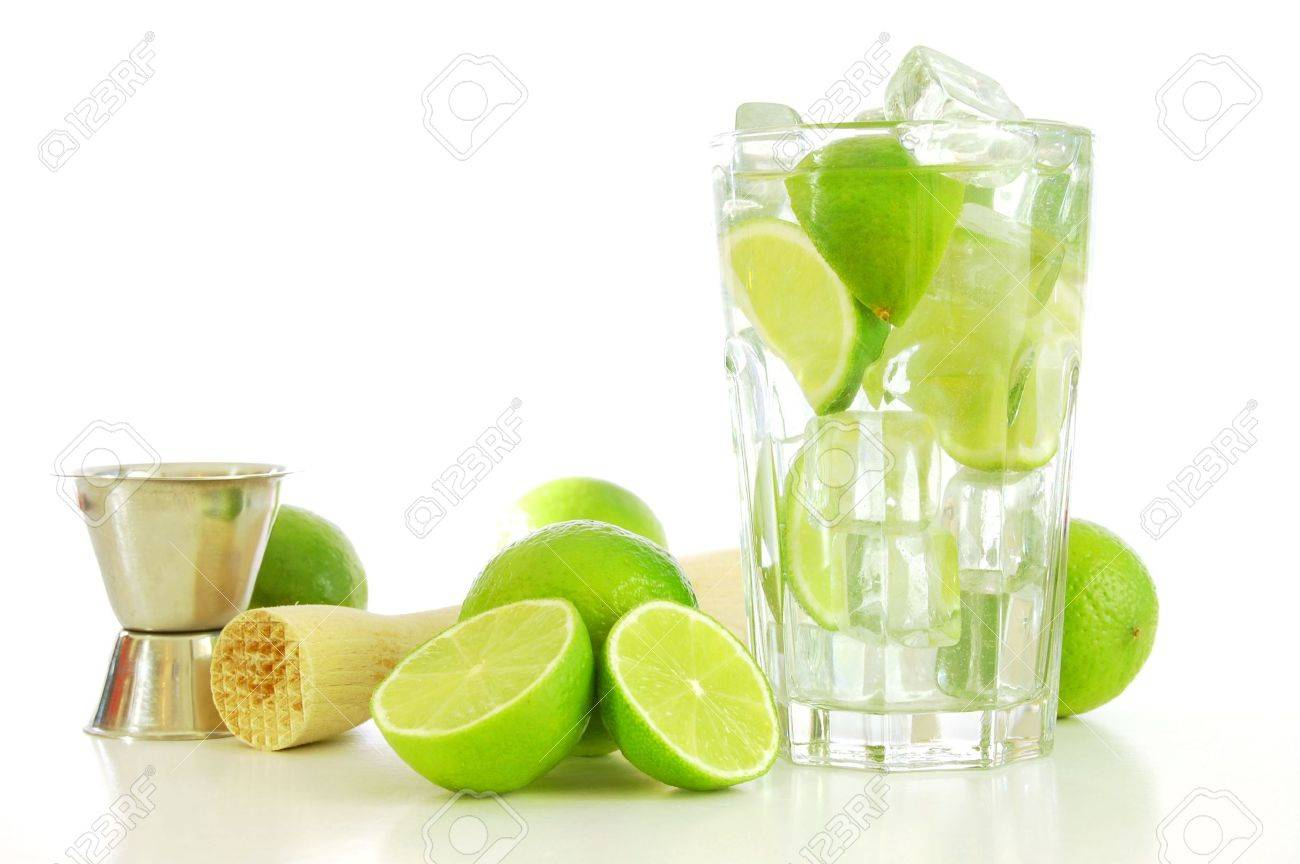 green Caipirinha cocktail drink with copyspace for text message Stock Photo - 5140949