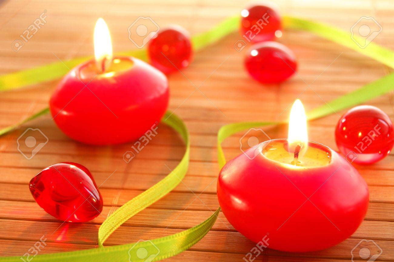 christmas candle or spa decoration showing relaxation stock photo