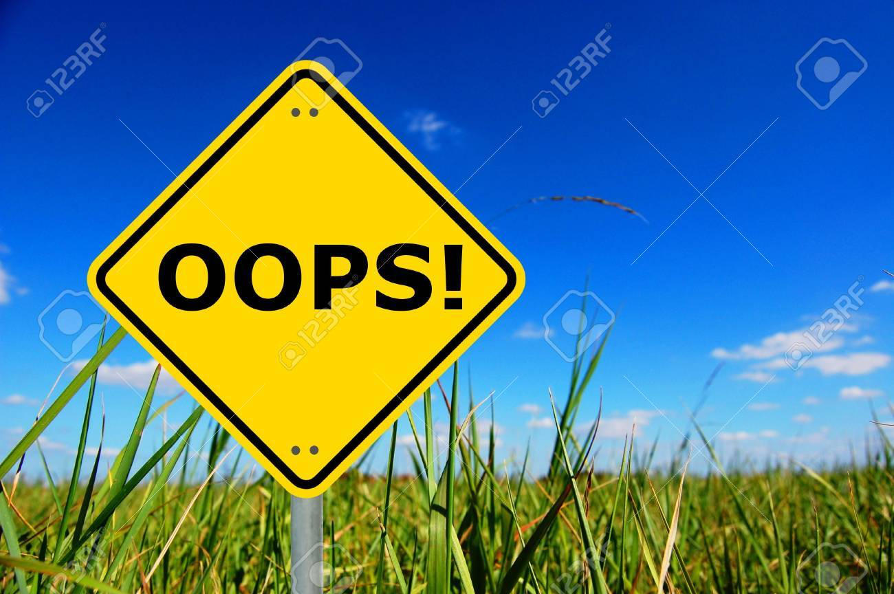 oops written on a yellow road traffic sign Stock Photo - 5639068