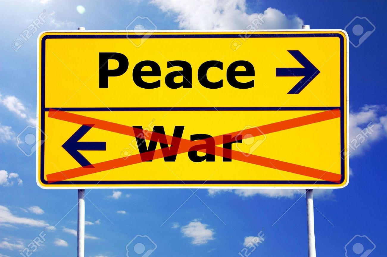 peace and war concept with yellow road sign Stock Photo - 5737935