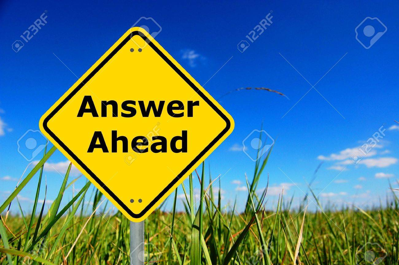 answers ahead written on a yellow road sign Stock Photo - 5752167
