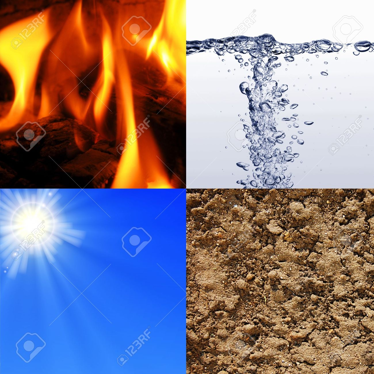 the four elements earth wind water and fire Stock Photo - 5838090