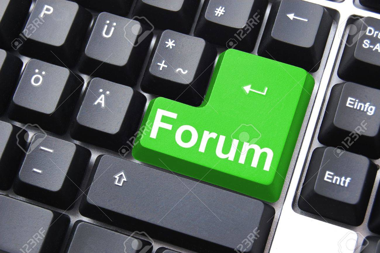 Internet Forum Concept With Key On Computer Keyboard Stock Photo ...