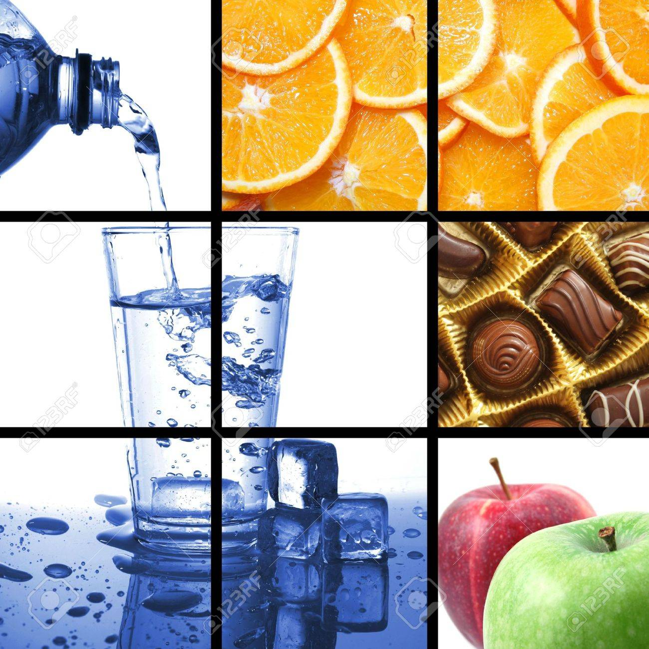 food and drink collage or collection showing healthy lifestyle Stock Photo - 5970888
