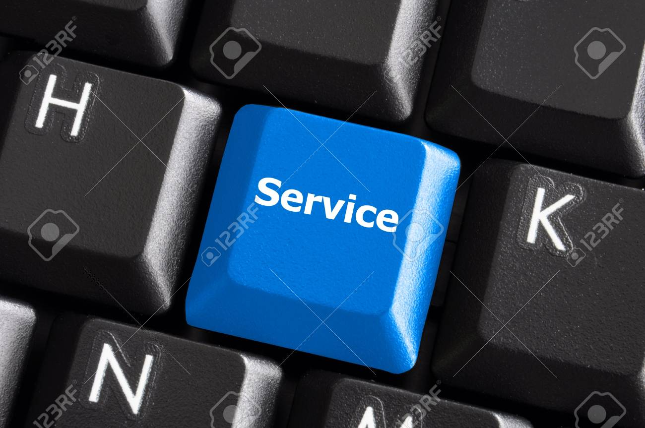 online service or contact us concept with button on computer keyboard Stock Photo - 6007749