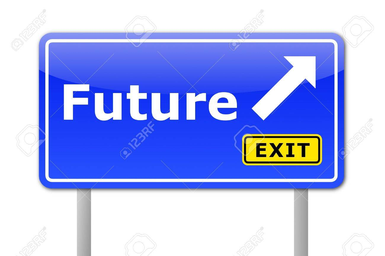 future written on a road sign illustration showing time concept Stock Illustration - 6174874