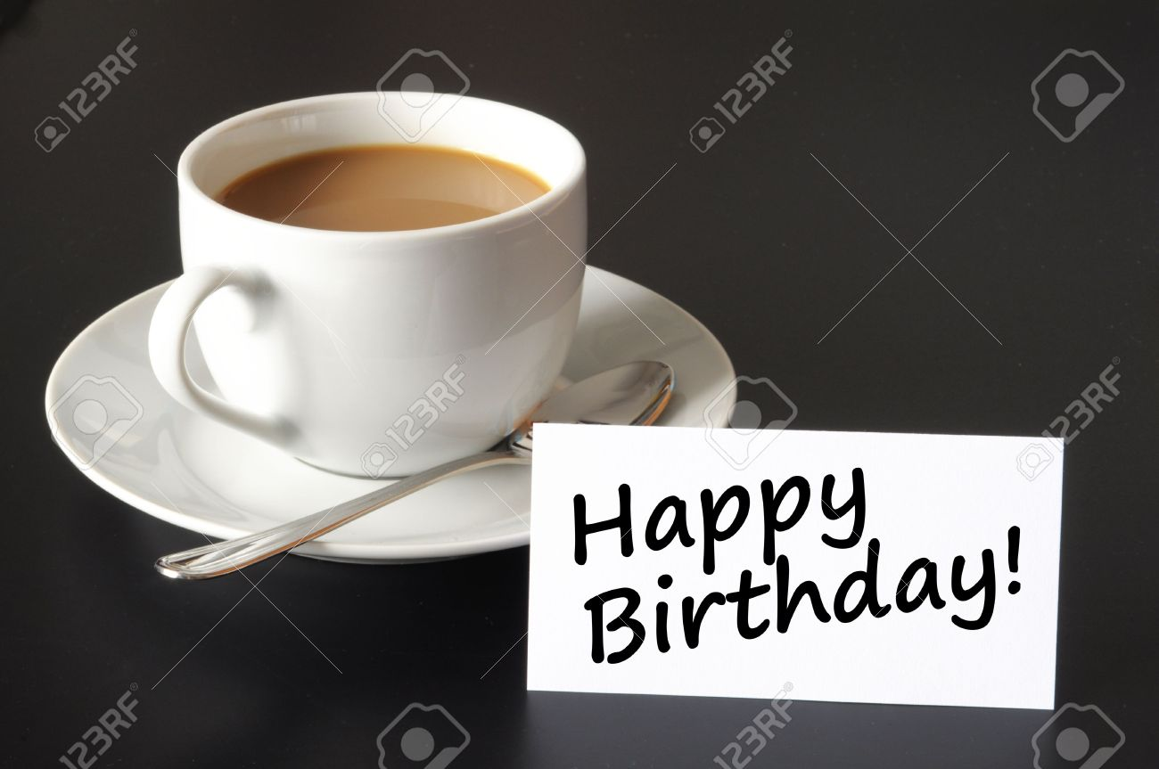 happy birthday greeting card with cup of coffee on black stock, Birthday card