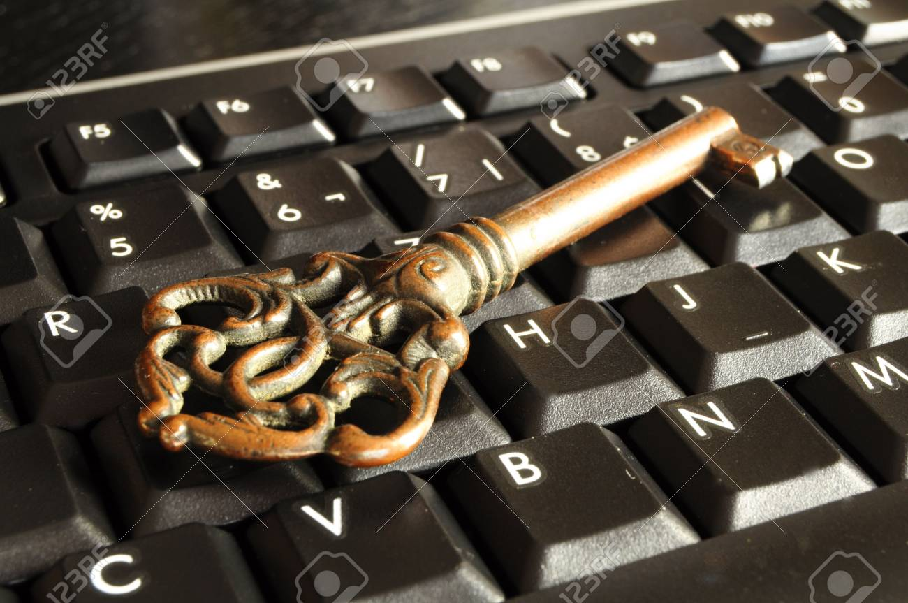 internet security concept with padlock on black keyboard Stock Photo - 6565605