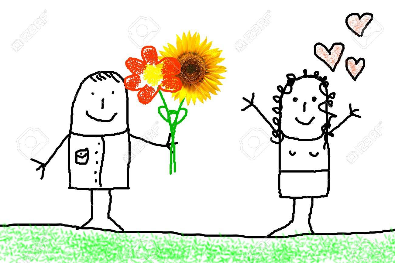 illustration of love concept with flower and figure Stock Photo - 6651761