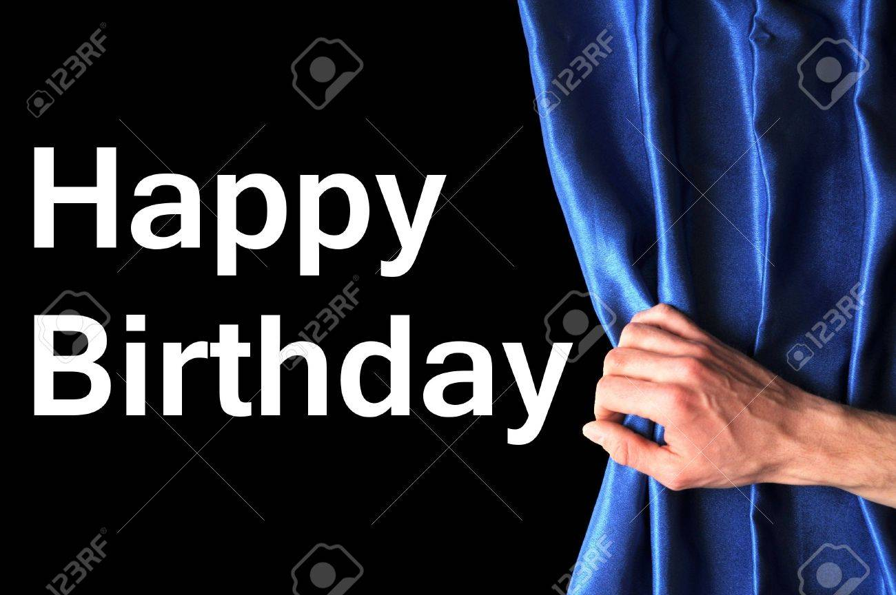 happy birthday card with hand and blue curtain Stock Photo - 6744983