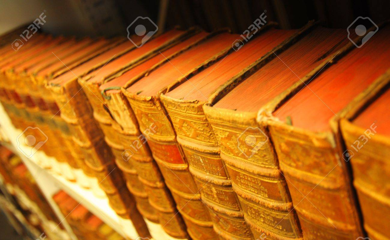 old yellow vintage books in library showing education concept Stock Photo - 6811149