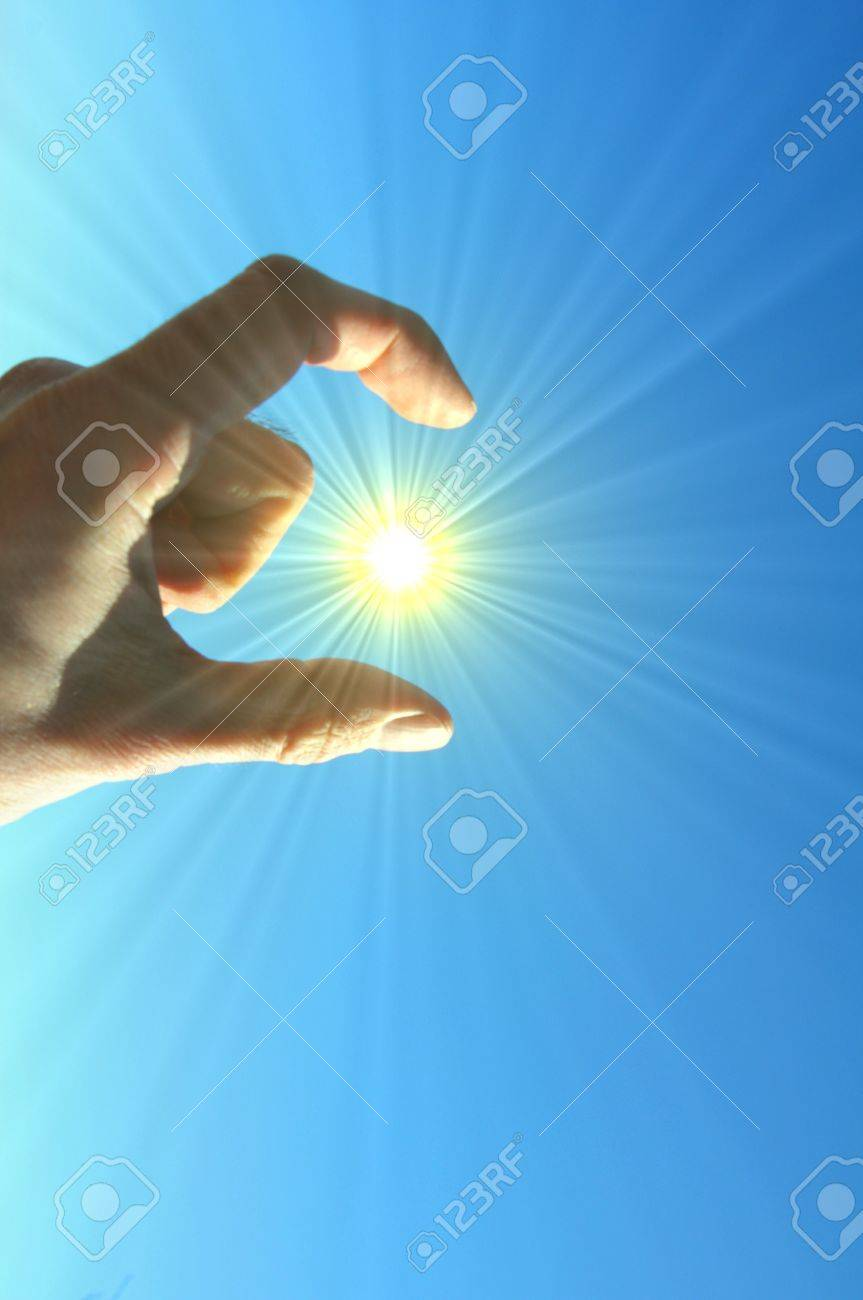 hand finger sky and sun showing freedom concept Stock Photo - 7055654