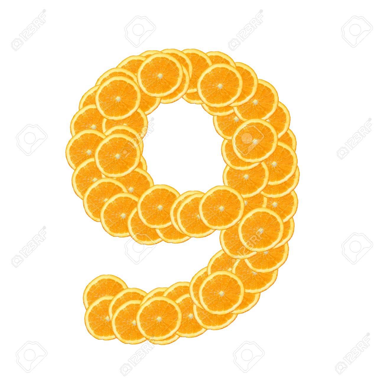 healthy orange fruit alphabet or font isolated on white background Stock Photo - 7092755