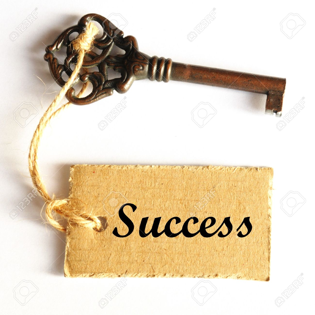old key to success concept with label or tag Stock Photo - 7197138