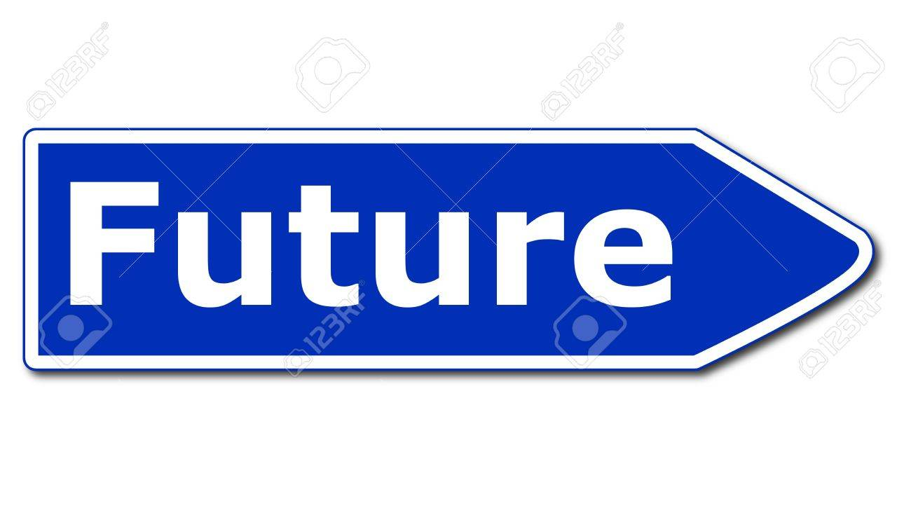 future road sign isolated on white background showing time concept Stock Photo - 7723642