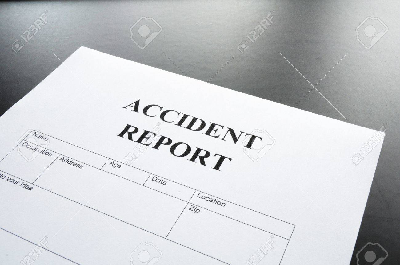 Accident Report Form Or Document Showing Insurance Concept Stock ...
