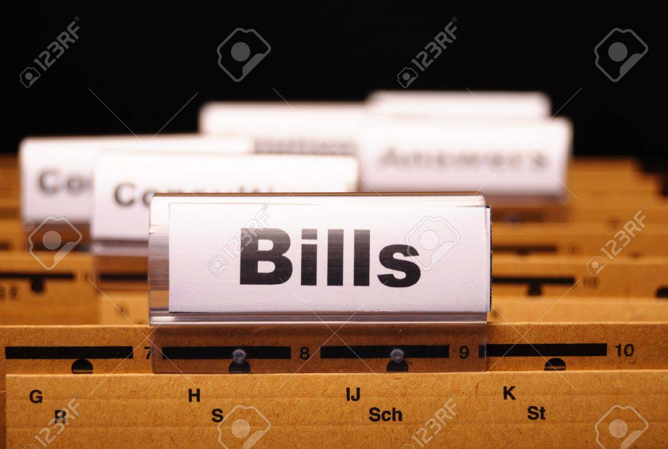 bill or bills word on paper riders showing payment or debts concept Stock Photo - 8067246