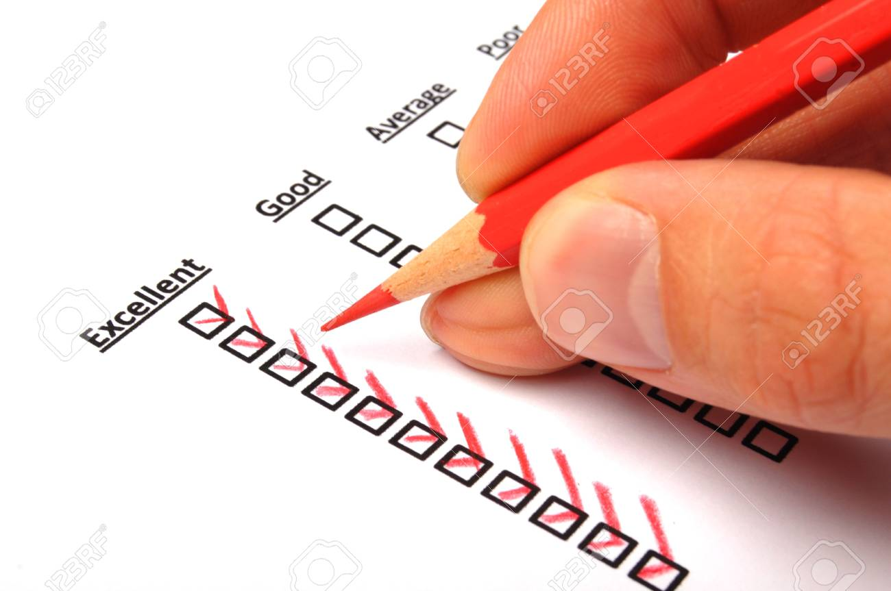 customer service survey with checkbox on form an red pencil Stock Photo - 8067172