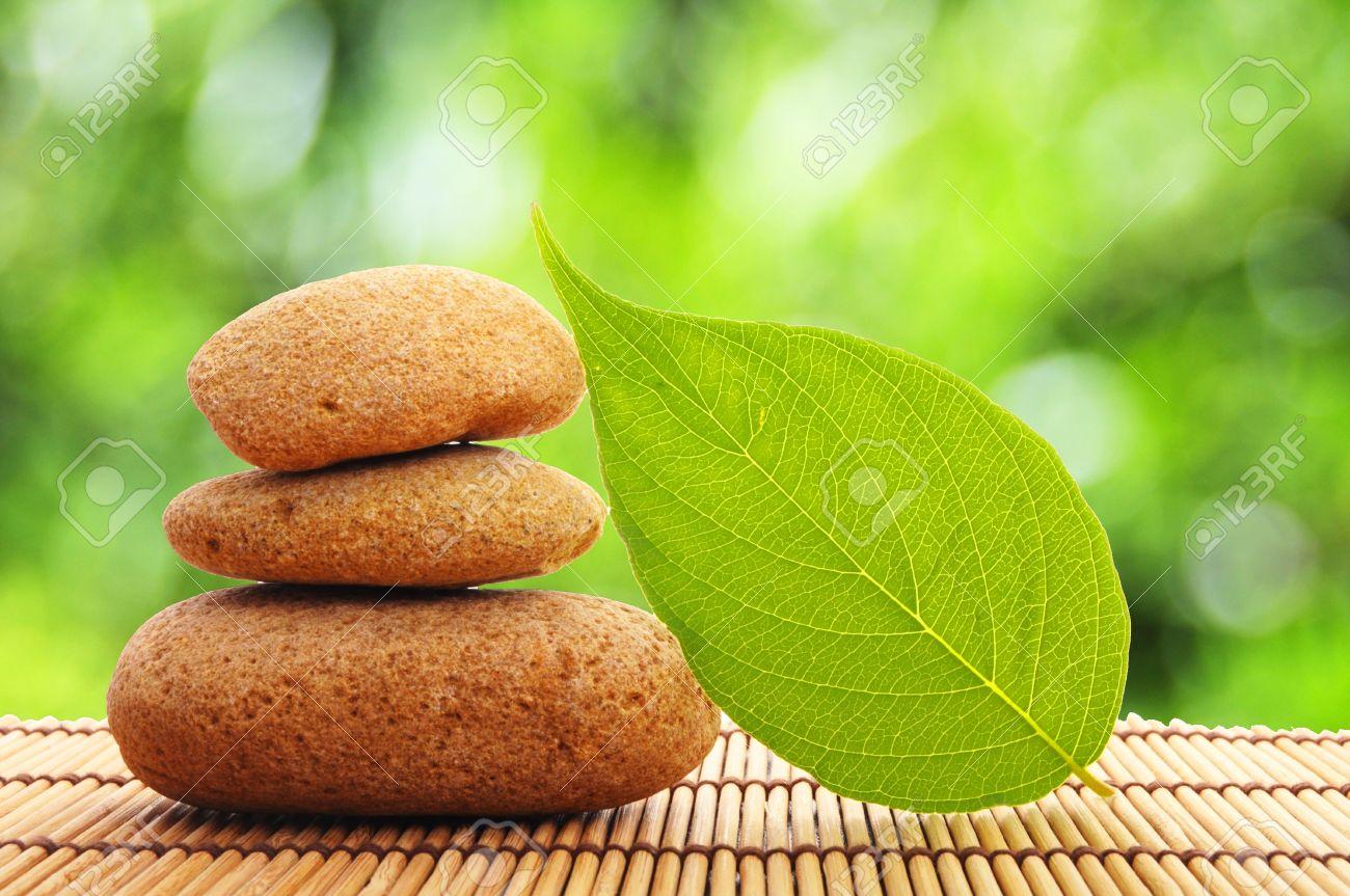 Wellness bilder grün  Zen Stone Und Grün Leaf Ergebnis Spa Oder Wellness-Konzept ...