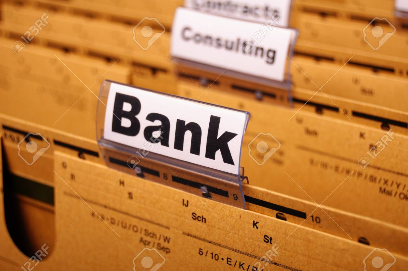 bank or banking word on tab folder showing finance or financial success concept Stock Photo - 8221750