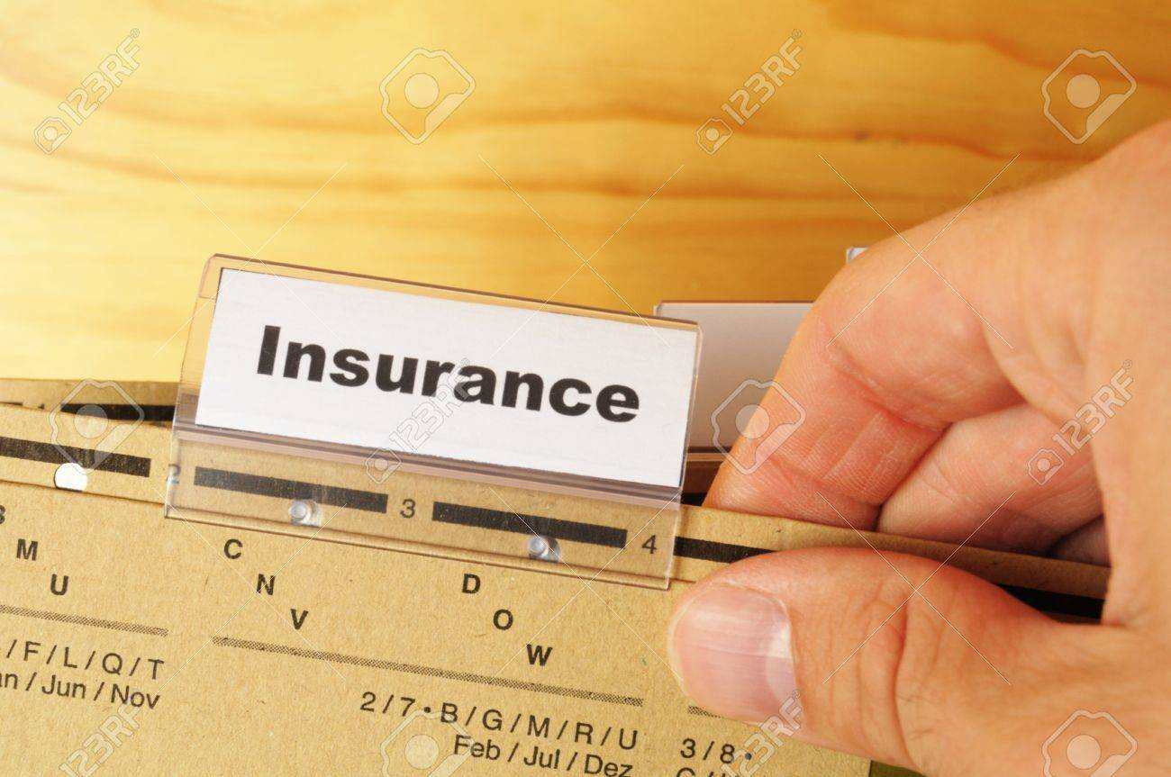insurance word on business folder showing risk management concept Stock Photo - 8221745