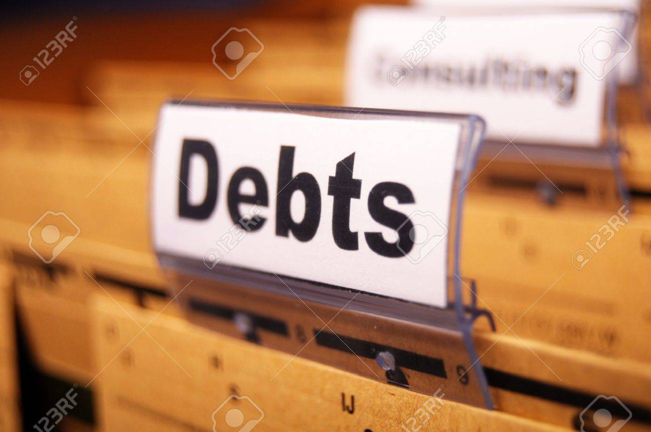 dept word on business folder showing finance or financial concept Stock Photo - 8423991