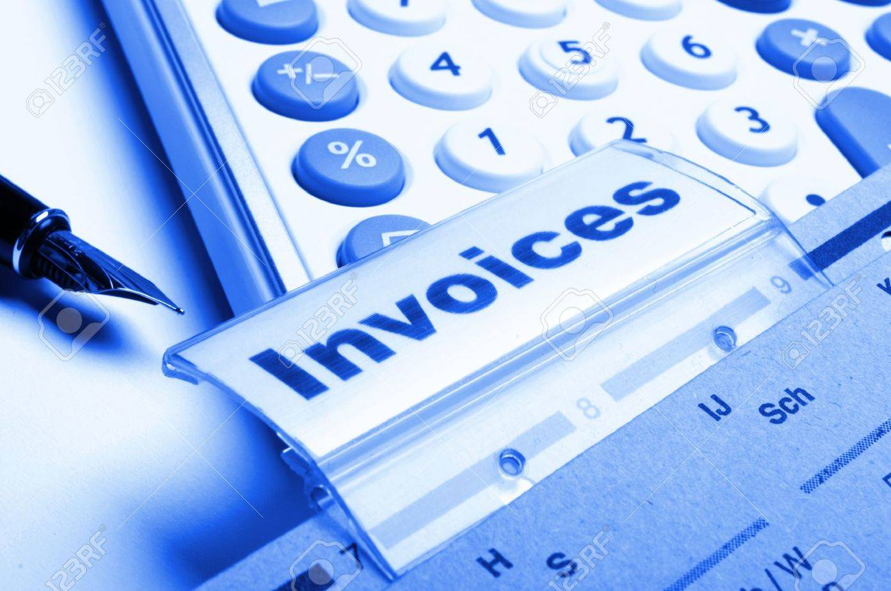 invoice or invoices concept with business folder in office showing paperwork Stock Photo - 8423989