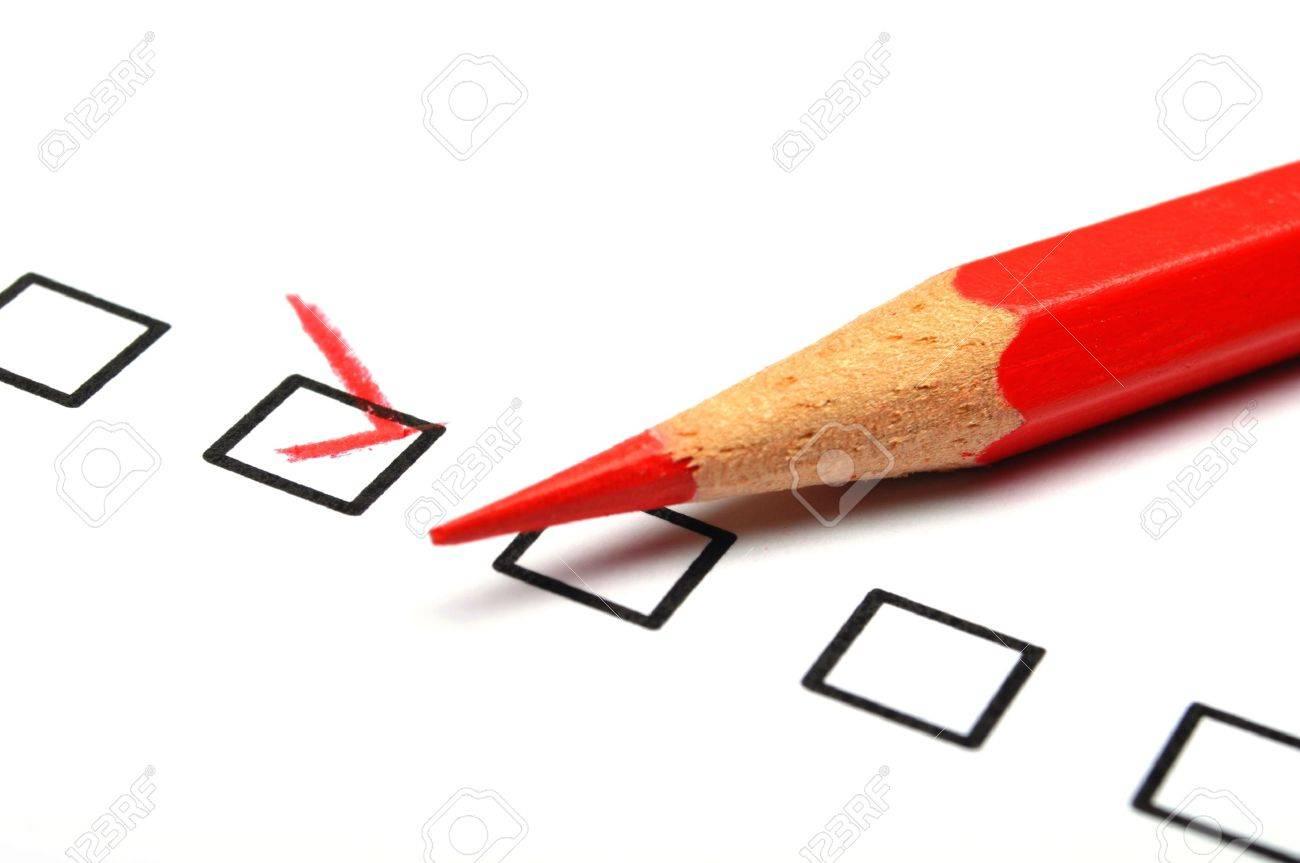 checkbox and red pen showing customer service survey or satisfaction concept to improve sales Stock Photo - 8469809