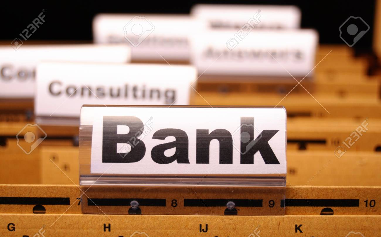 bank or banking word on tab folder showing finance or financial success concept Stock Photo - 8578725