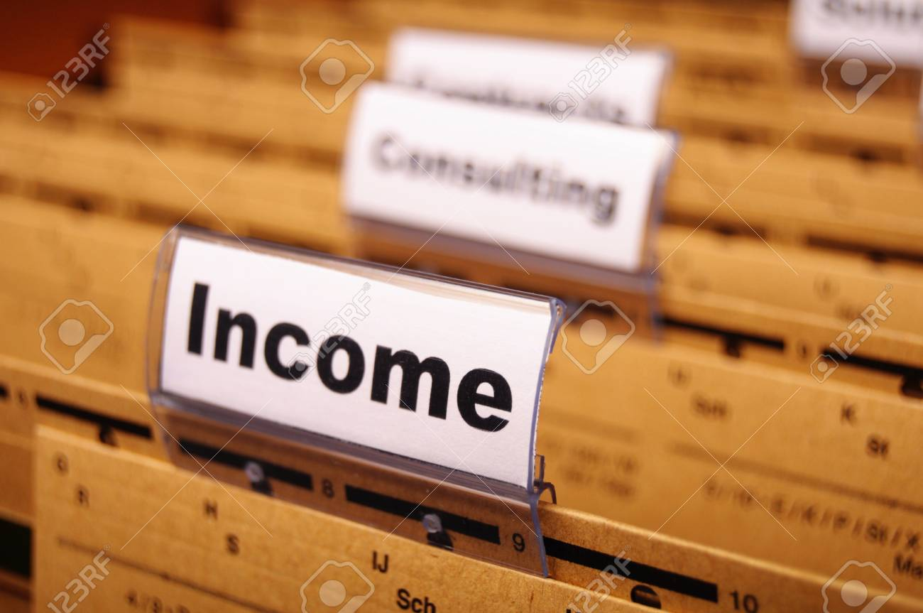 income word on business folder showing finance financial or earnings concept Stock Photo - 8578737