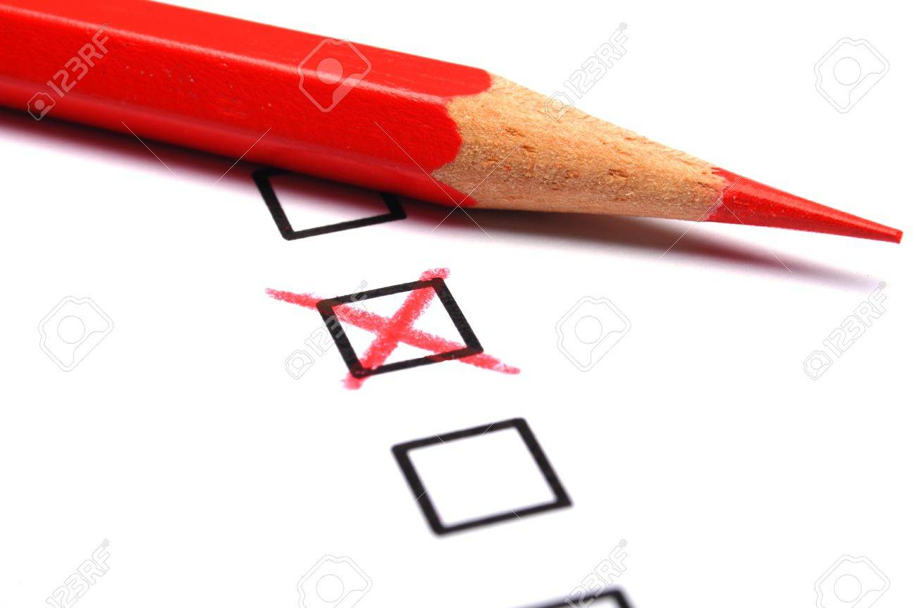 checkbox and pencil showing science education research or customer satisfaction survey concept Standard-Bild - 8656646