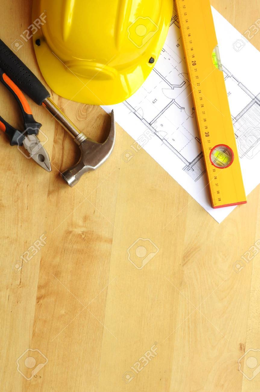 real estate concept with hard hat blueprints tools and copyspace Stock Photo - 8840834