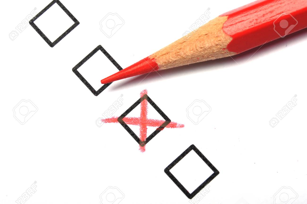 customer service survey with red pencil and checkbox showing satisfaction concept Stock Photo - 9011691