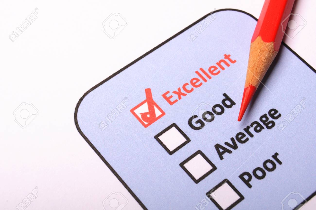 customer service survey with red pencil and checkbox showing satisfaction concept Stock Photo - 9307452