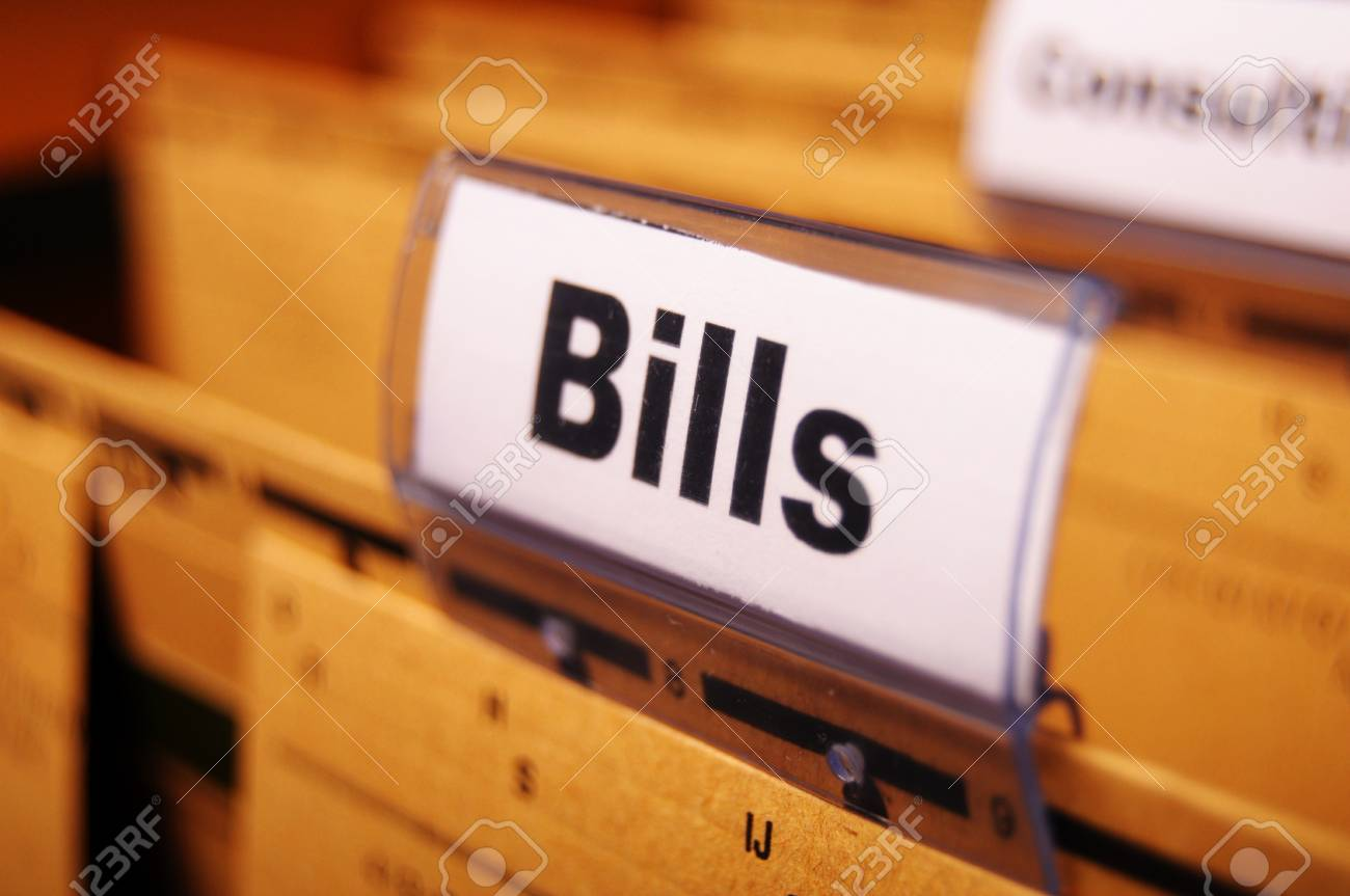 bill or bills word on paper riders showing payment or debts concept Stock Photo - 9594650