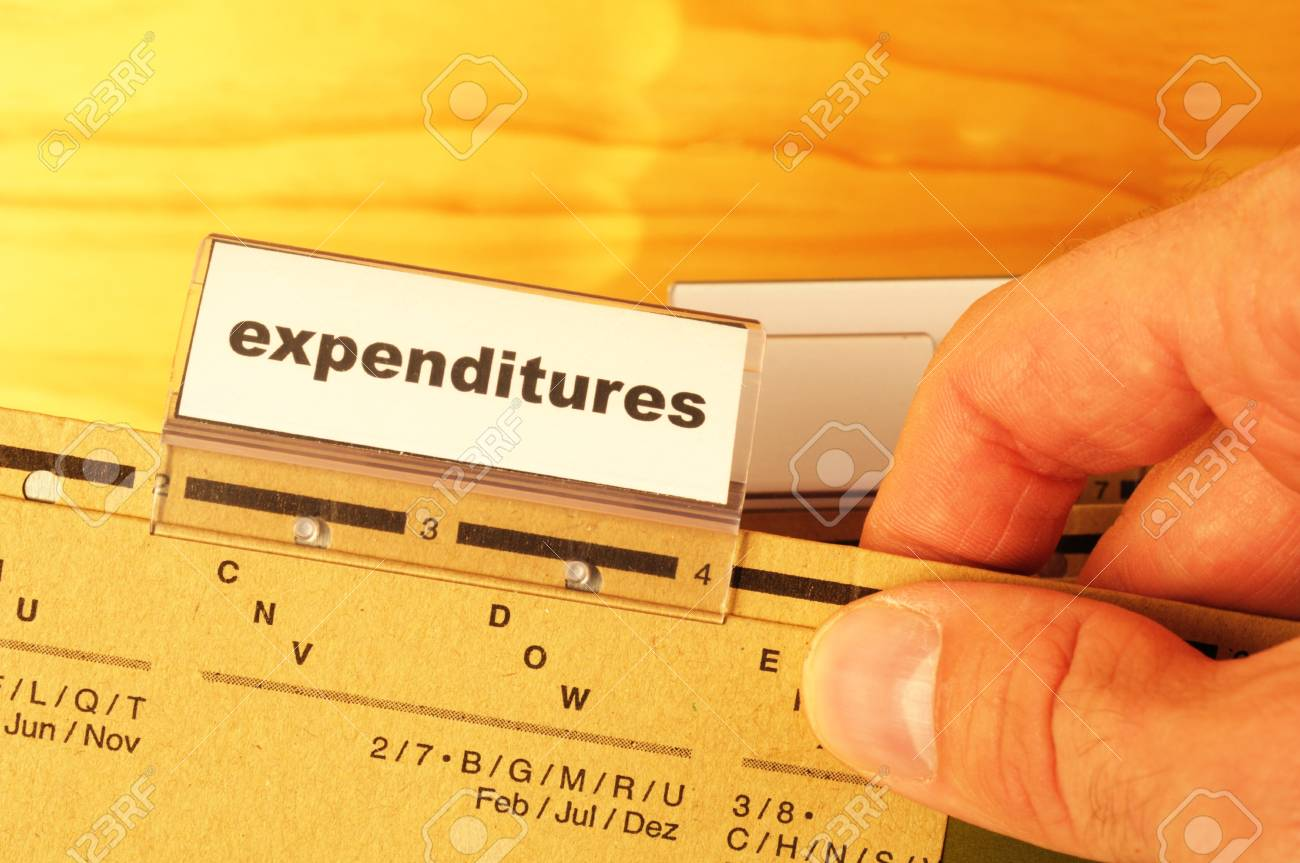 expenditures word on business folder showing costs finance or investment concept Stock Photo - 9594658