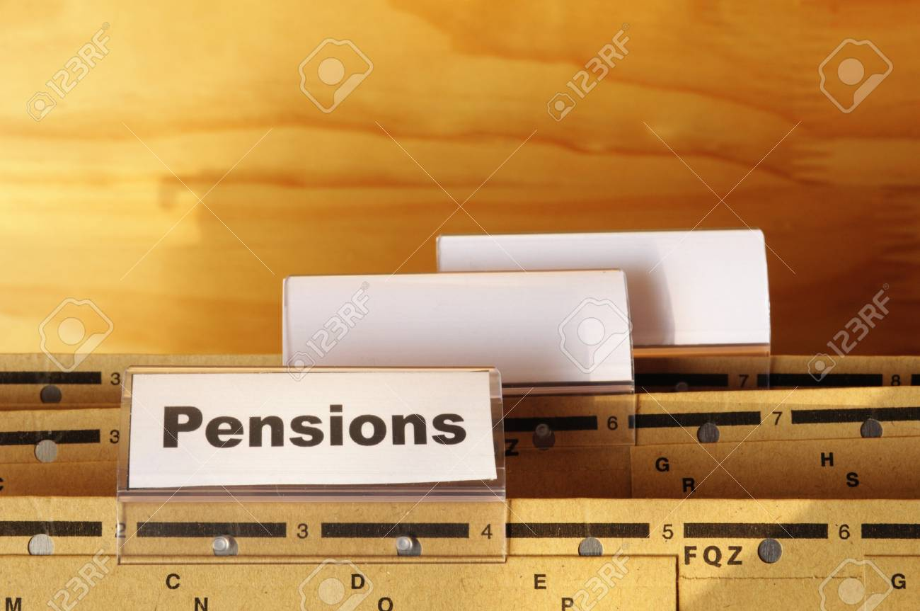 pension pension or retirement concept with word on business office folder index Stock Photo - 9594653