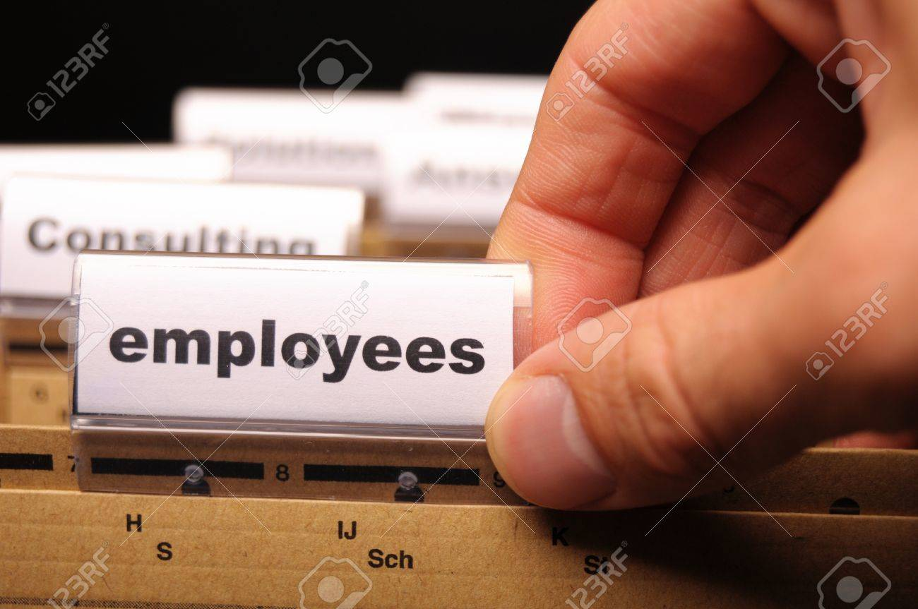employess word on business office folder shopwing job hiring or work concept Stock Photo - 9771524