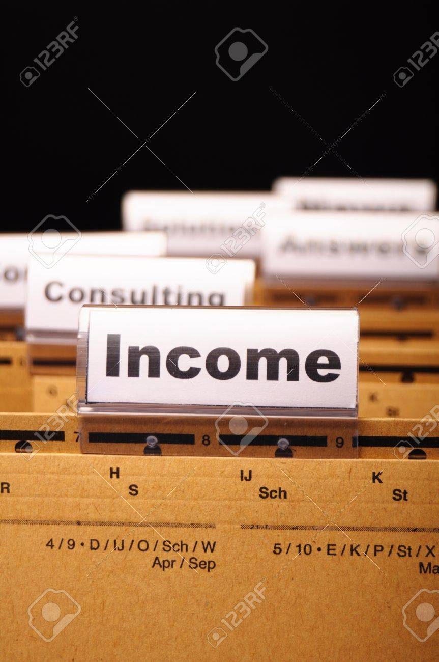 income word on business folder showing finance financial or earnings concept Stock Photo - 9771534