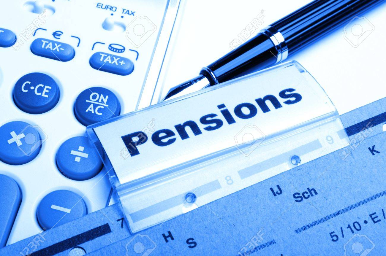 pension pension or retirement concept with word on business office folder index Stock Photo - 9771565